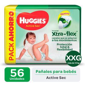 PAÑAL HUGGIES ACTIVE SEC Xtra Flex XXG x56