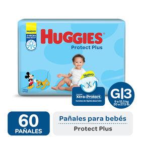PAÑAL HUGGIES PROTECT PLUS G x 60
