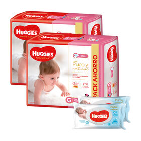 2 Packs PAÑAL HUGGIES NATURAL CARE ELLAS Gx68 +  2 packs de Toallitas Húmedas Puro y Natural x80