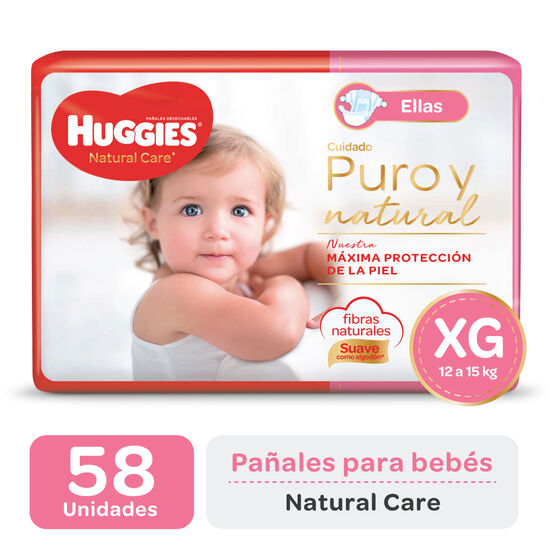 PAÑAL HUGGIES NATURAL CARE ELLAS XGx58