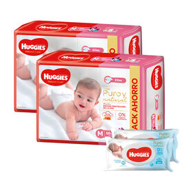 2 Packs PAÑAL HUGGIES NATURAL CARE ELLAS Mx68 +  2 packs de Toallitas Húmedas Puro y Natural x80