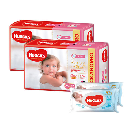 2 Packs PAÑAL HUGGIES NATURAL CARE ELLAS XGx58 +  2 packs de Toallitas Húmedas Puro y Natural x80