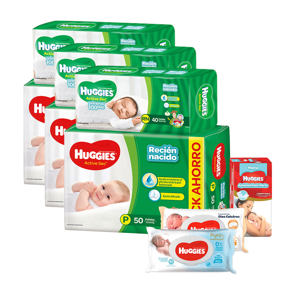 Combo Baby Shower Huggies Active Sec